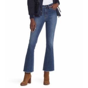Tory Burch Ryan Frayed Flare High Rise Jeans